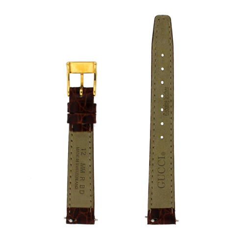 Gucci Watch Strap 12mm Tan Genuine Leather Model 2300L 6000L - Main