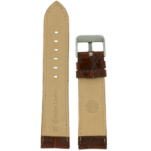 Brown Leather Watch Band with Crocodile Grain by Tech Swiss - Interior View - Main