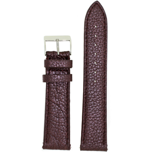 Watch Band Metallic Plum Purple Leather Padded Built-In Spring Bars
