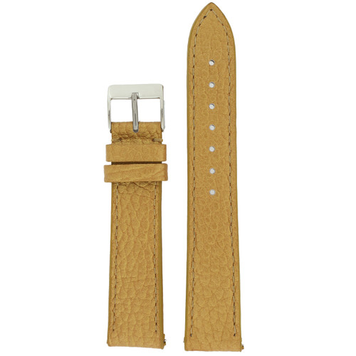 Watch Band Metallic Gold Leather Padded Built-In Spring Bars
