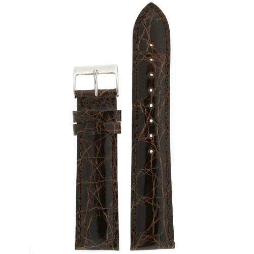 Genuine Crocodile XL Watch Band Dark Brown Stitching Padded