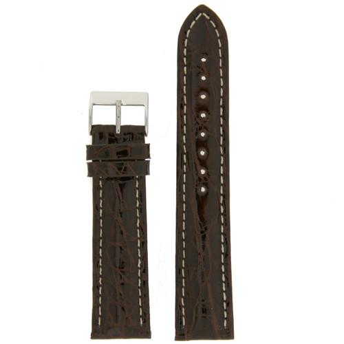 Genuine Crocodile Brown Thick Padded White Stitched