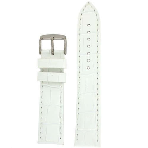 Crocodile Grain Watch Band in White by Tech Swiss - Front View