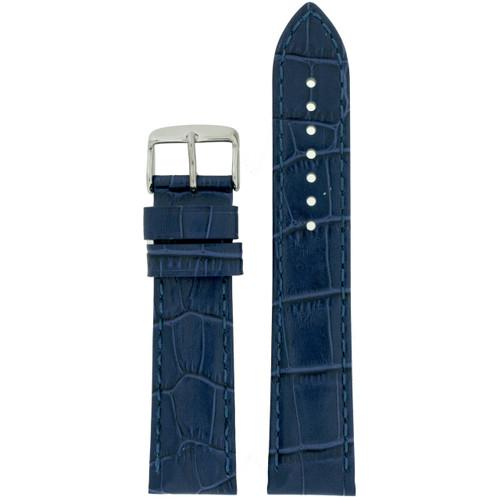 Blue Crocodile Grain Watch Band by Tech Swiss - Front View