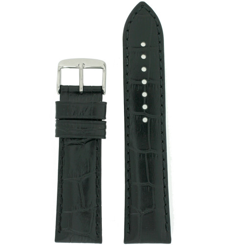 Black Leather Watch Band with Crocodile Grain by Tech Swiss - Top View