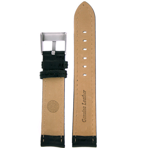 Leather Watch band in black by Tech Swiss - Bottom View