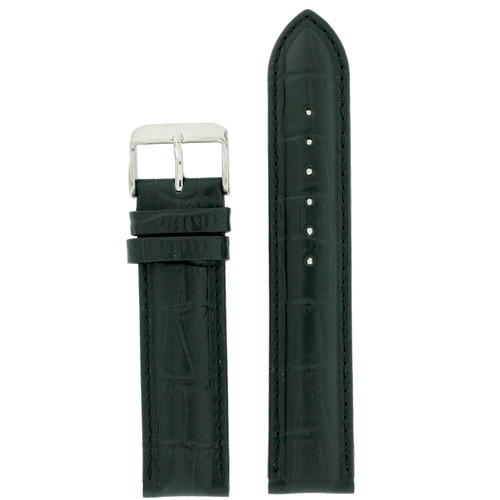 Waterproof Black Leather Watch Band by Tech Swiss - Top View