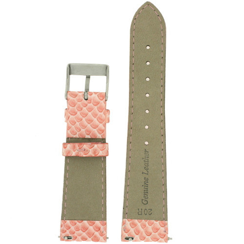 Leather Watch Band with Snake Grain in Salmon Pink - Bottom View - Main