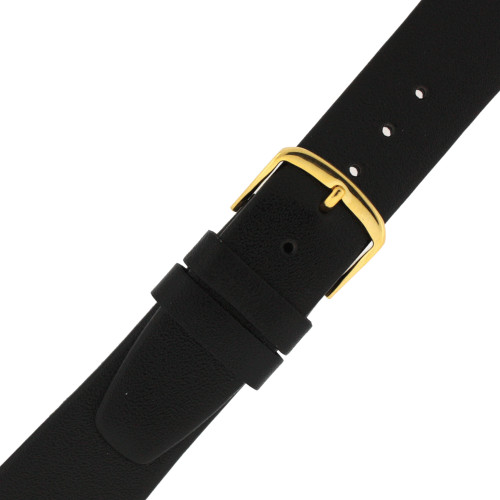 Calfskin Watch Band in Black - Buckle View - Main