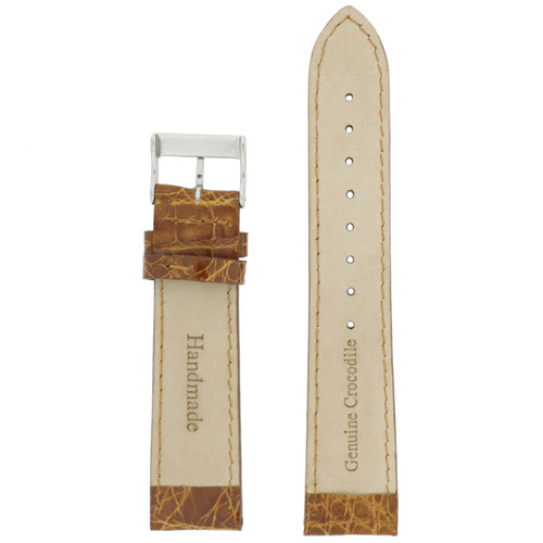 Watch Band Genuine Crocodiledile Cognac Brown Padded Stitched Mens 16 millimeter - Main
