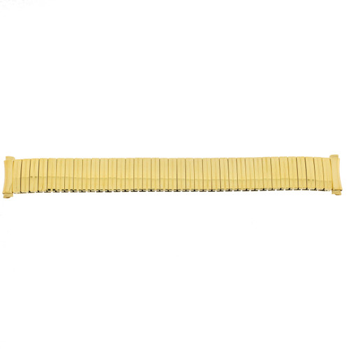 Speidel 15-18mm Gold-Tone Twist O Flex Expansion Watch Band Strap Special Curved Ends - Main