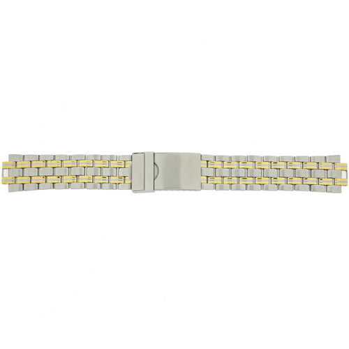 Metal Watch Band in 2-Tone Stainless Steel w. Curved End - Main