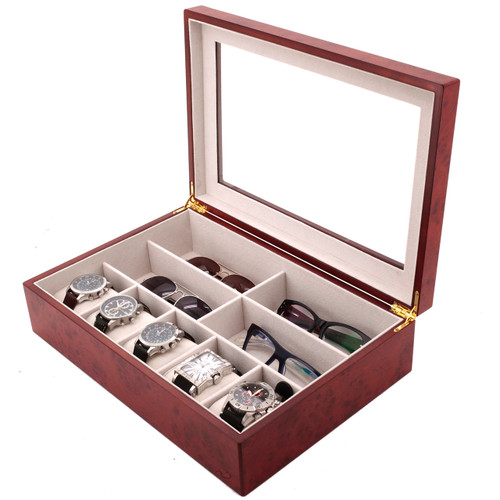 Compact Wood Watch & Jewelry Case for Men | Clear Display Window | Tech Swiss | TSVL405BUR | Main