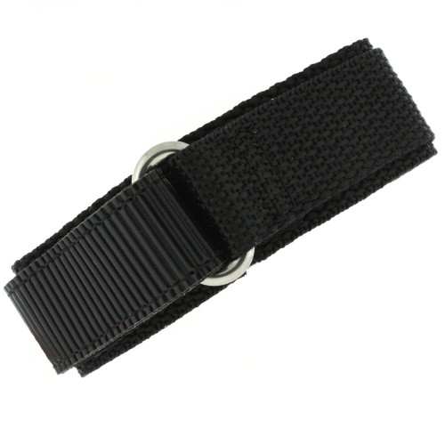 18mm Black Velcro Watch Band | 18mm Velcro Black Watch Strap | 18mm Sport Black Watch Band | Watch Material VEL100BLK-18mm | Main 2