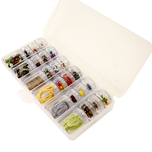 Storage Box 24 Round Clear Jars Containers Multi-functional Organizer For Small Items Beads Jewelry Buttons