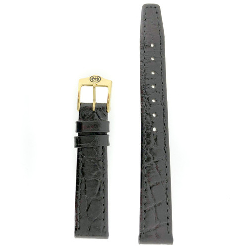 Gucci Watch Band 12mm Black  Genuine Leather Model 2300L 6000L