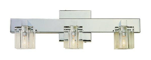 3 Light Chrome Crystal Halogen Bath Sconce