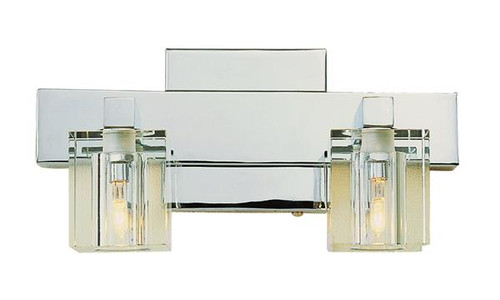2 Light Chrome Crystal Halogen Bath Sconce