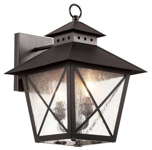 """15"""" Chimney Vented Wall Lantern in black finish and clear seeded glass"""