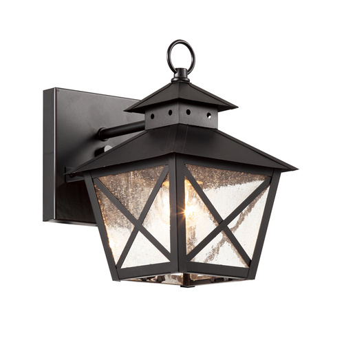 """9"""" Chimney Vented Wall Lantern in black finish and clear seeded glass"""