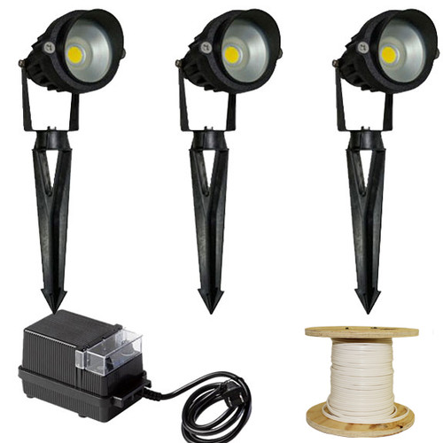 12v 3 integrated led aluminum spotlight landscape lighting kit led 3kit 120 by aqlighting. Black Bedroom Furniture Sets. Home Design Ideas