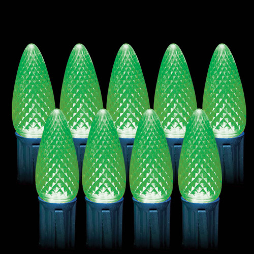 LED Green Faceted C9 Light Bulbs (25 count)
