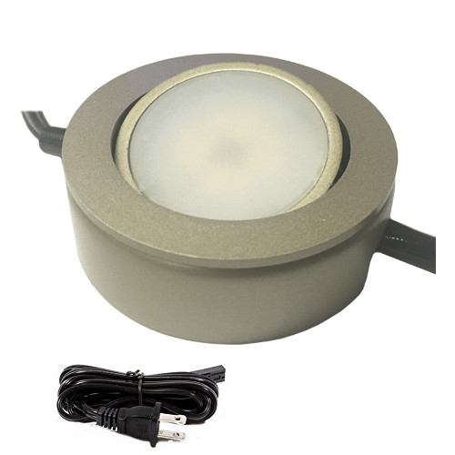120v dimmable led under cabinet high output 6 puck light kit single puck shown in platinum mozeypictures Choice Image