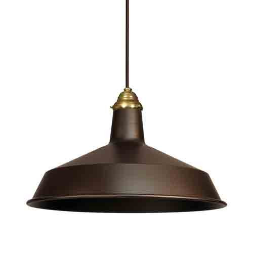 Vintage Barn Pendant w/ Raw Brass Top Cap - 120V Warehouse Pendant Light - AQ-P925C