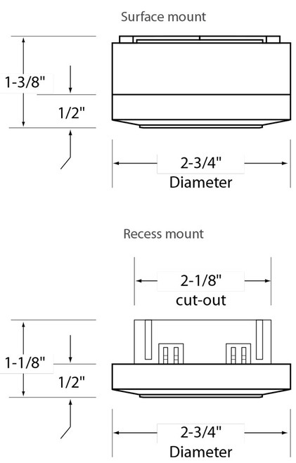 120v dimmable xenon under cabinet puck light lvpx20 by american shown in white dimensions diagram aloadofball Gallery