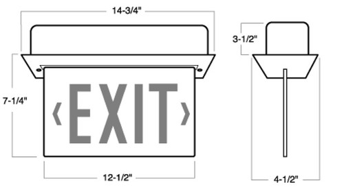 Recessed Led Lit Edge Exit Sign By Aql