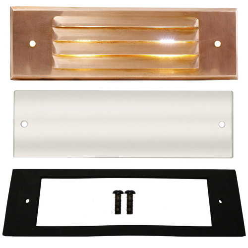 Outdoor Light Covers: Raw Copper Louver Recessed Step Light Face Plate