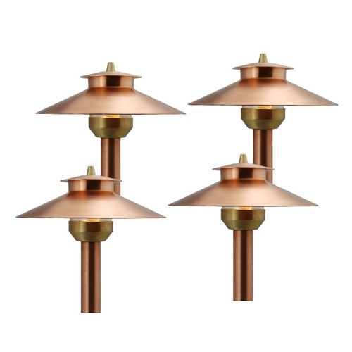 4 LED Raw Copper 2 Tier Pathway Light Set - 212CP