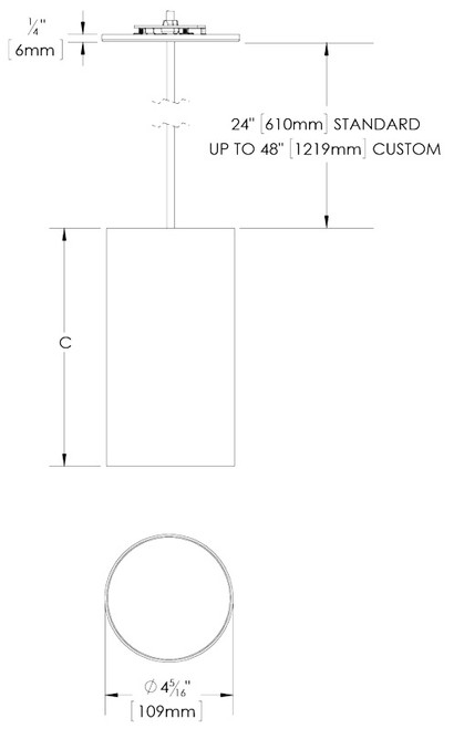 120v Aluminum Cylinder Light W   Pendant Cord Mounting  Dcc2cm  By Dmf
