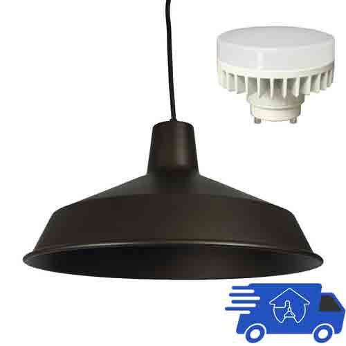 120V LED Indoor Metal Barn Shade Ceiling Pendant - Title 24 Compliant - AQ-PL925-GU24