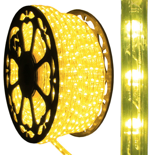 120v dimmable led yellow rope light 150ft 513pro series ak led aqlighting 120v dimmable led yellow type 513 rope light mozeypictures Gallery