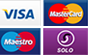 Pay by Visa, Mastercard, Maestro or SOLO