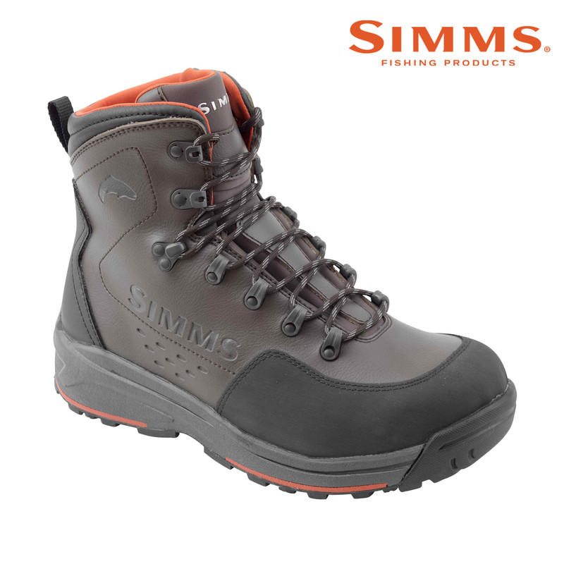 Simms Freestone Wading Boot with a Vibram Rubber Sole Front and Side View