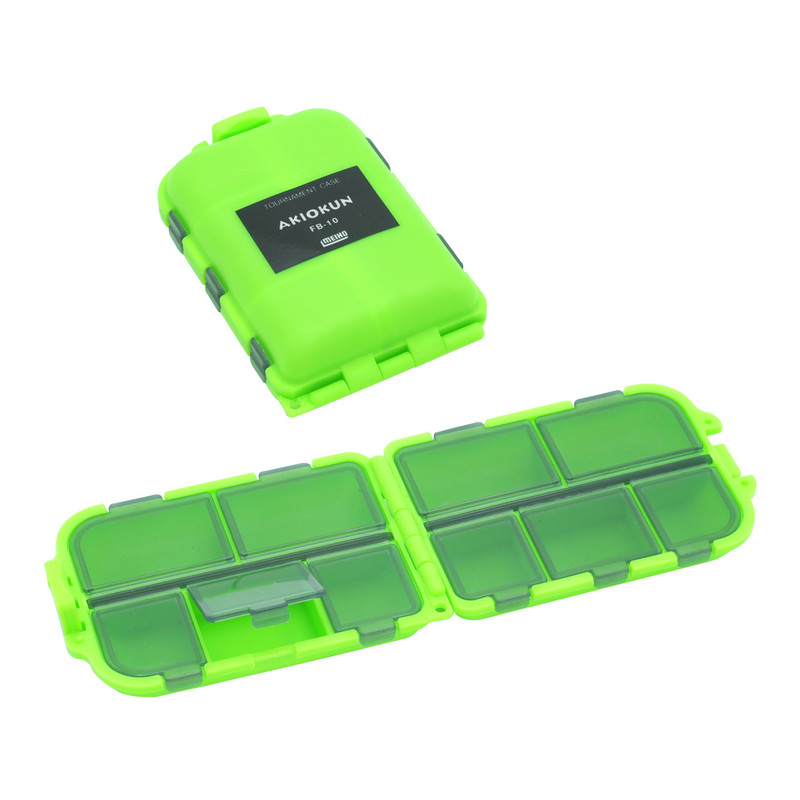 Two Meiho 10 Compartment M-62 Lime Fly Boxes Shown Both Closed and Open