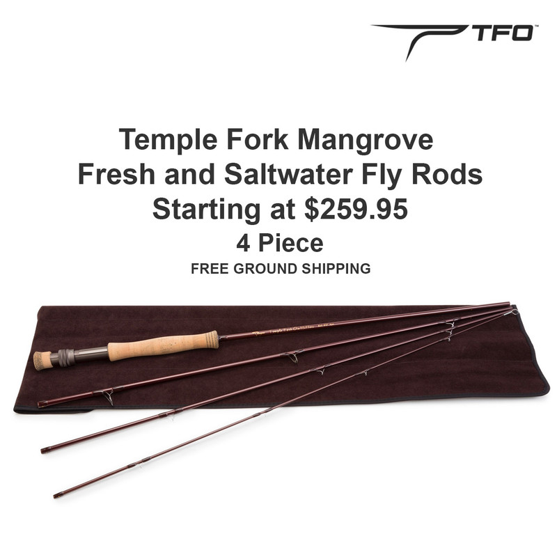 Temple Fork Mangrove Fly Rod with Price, TFO Logo and Free Ground Shipping
