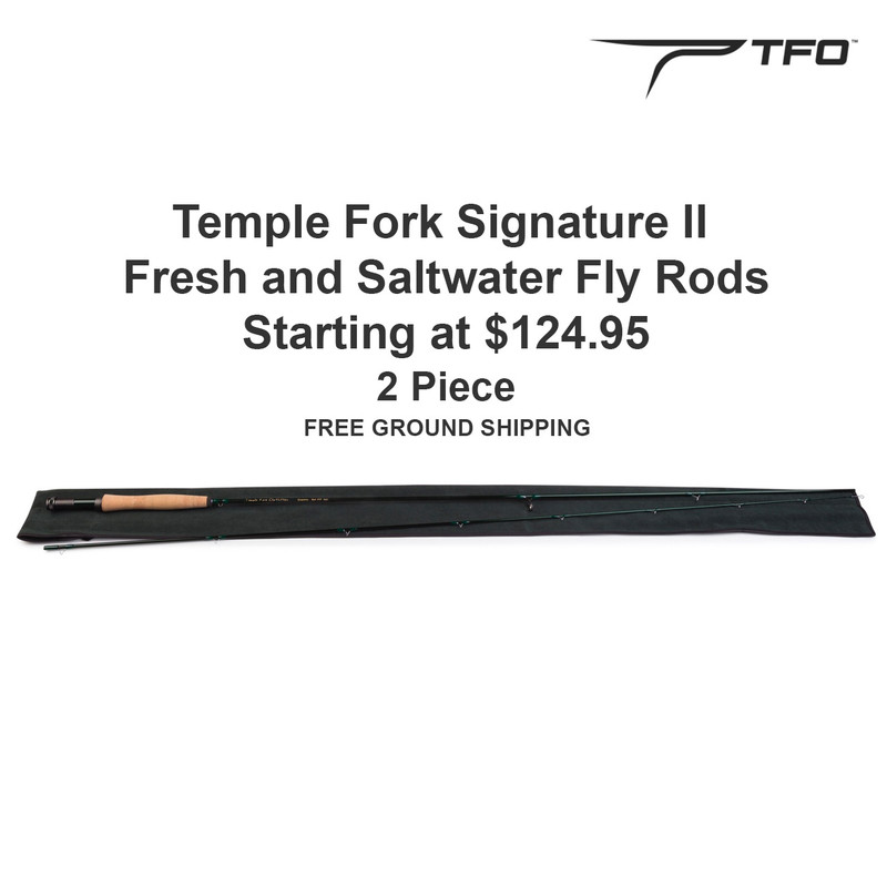 Temple Fork Signature II Fly Rod Shown With Rod Sock, Price, TFO Logo and Free Ground Shipping