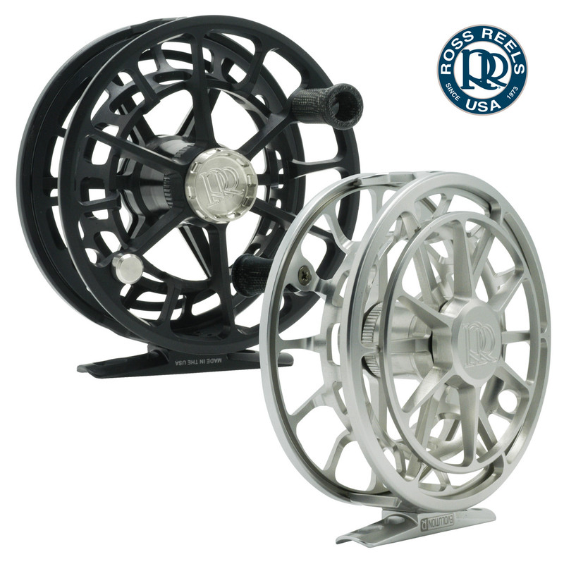 Front and Back View of Ross Evolution R Fly Fishing Reels in the Colors Black and Platinum.