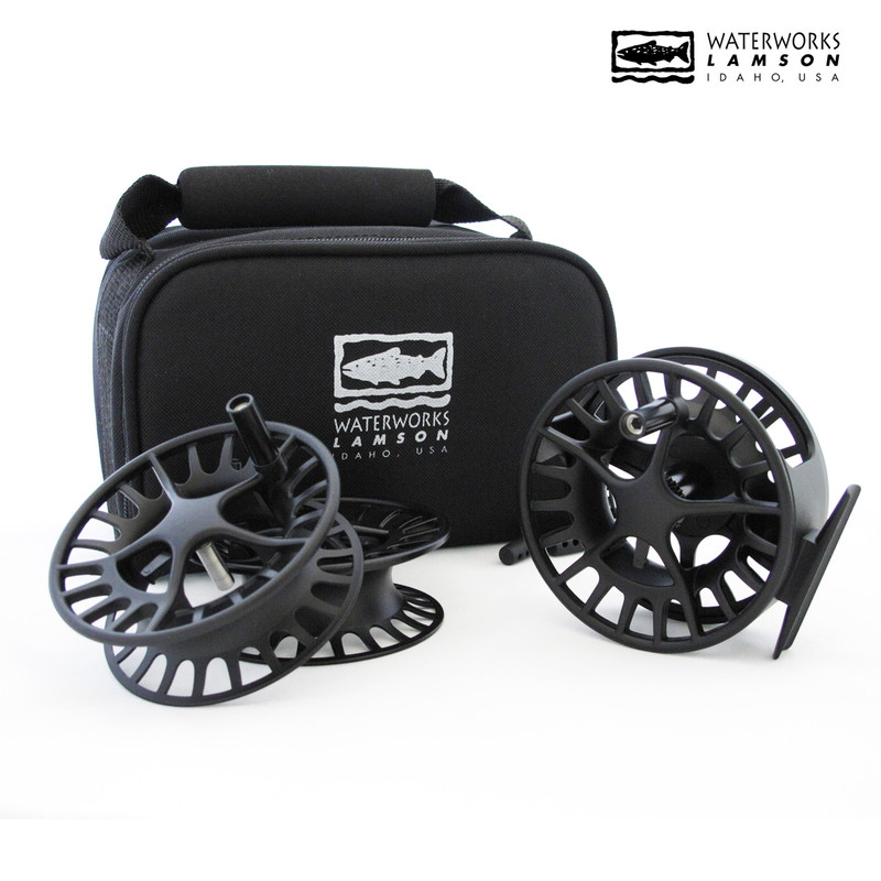 Waterworks Lamson Liquid 3-Pack Reel and Spools Shown With Case