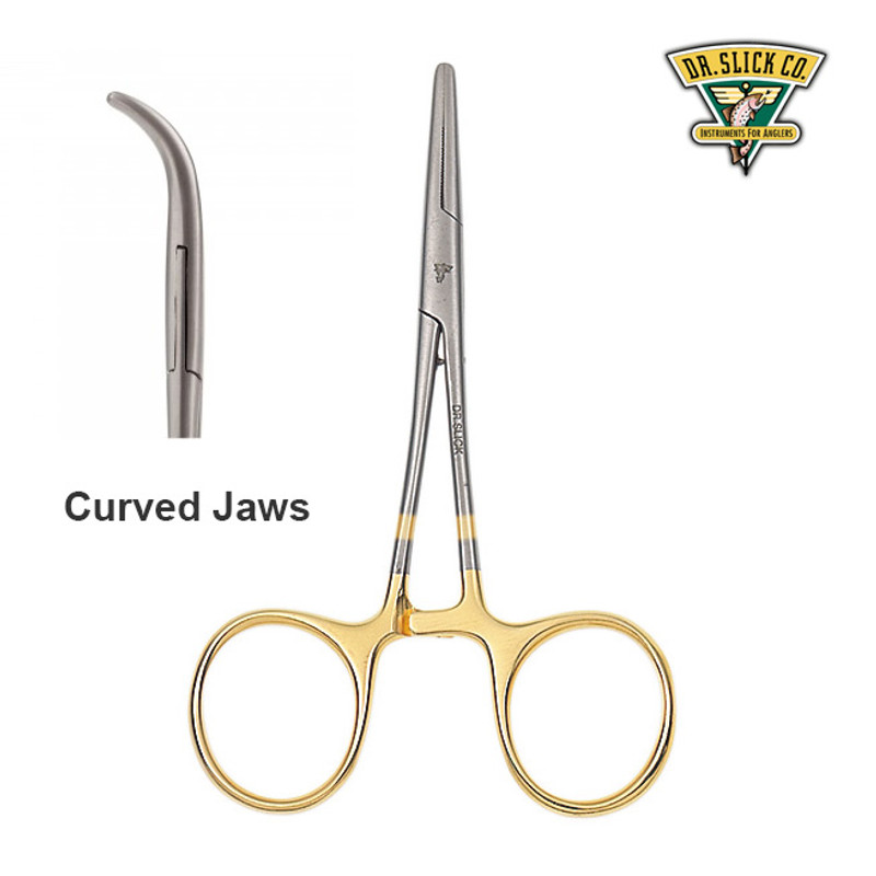 "Dr. Slick 5"" Clamp Forceps Gold Curved CC5G"