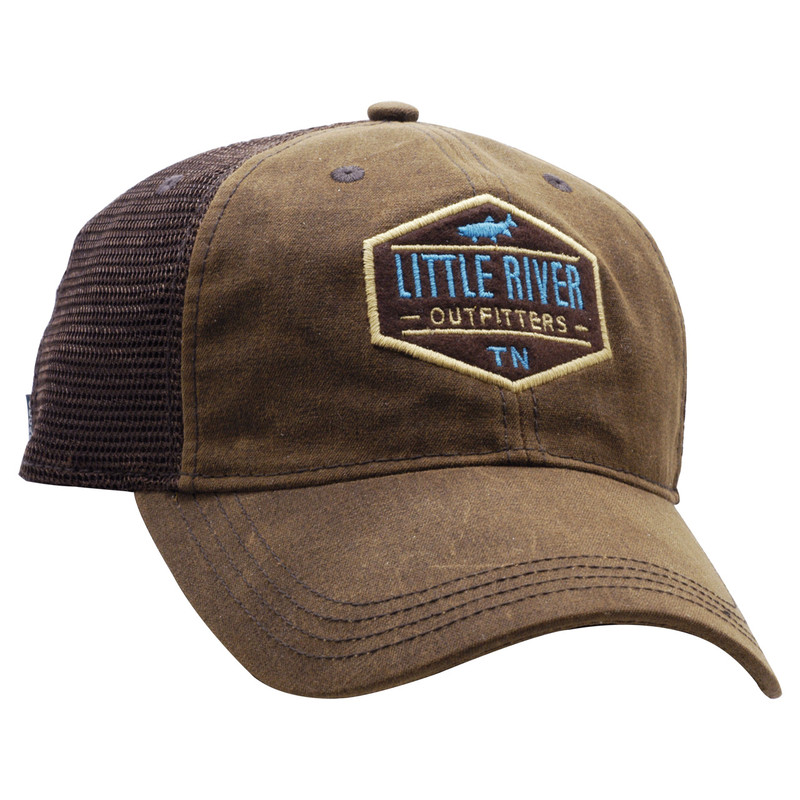 Waxed Cotton Brown Trucker Cap Front and Side View