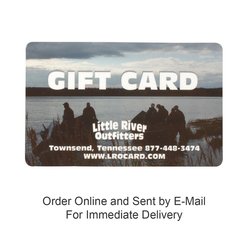"""Little River Outfitters Gift Card and the words, """"Buy online and sent by e-mail""""."""
