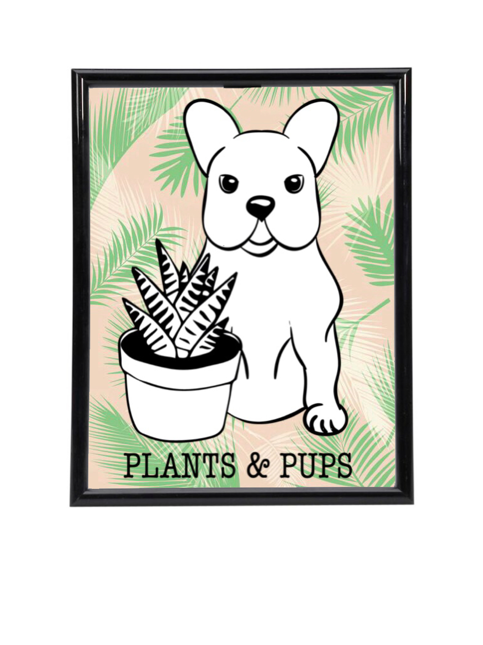 "PLANTS & PUPS Framed Poster (8.5"" x 11"")"