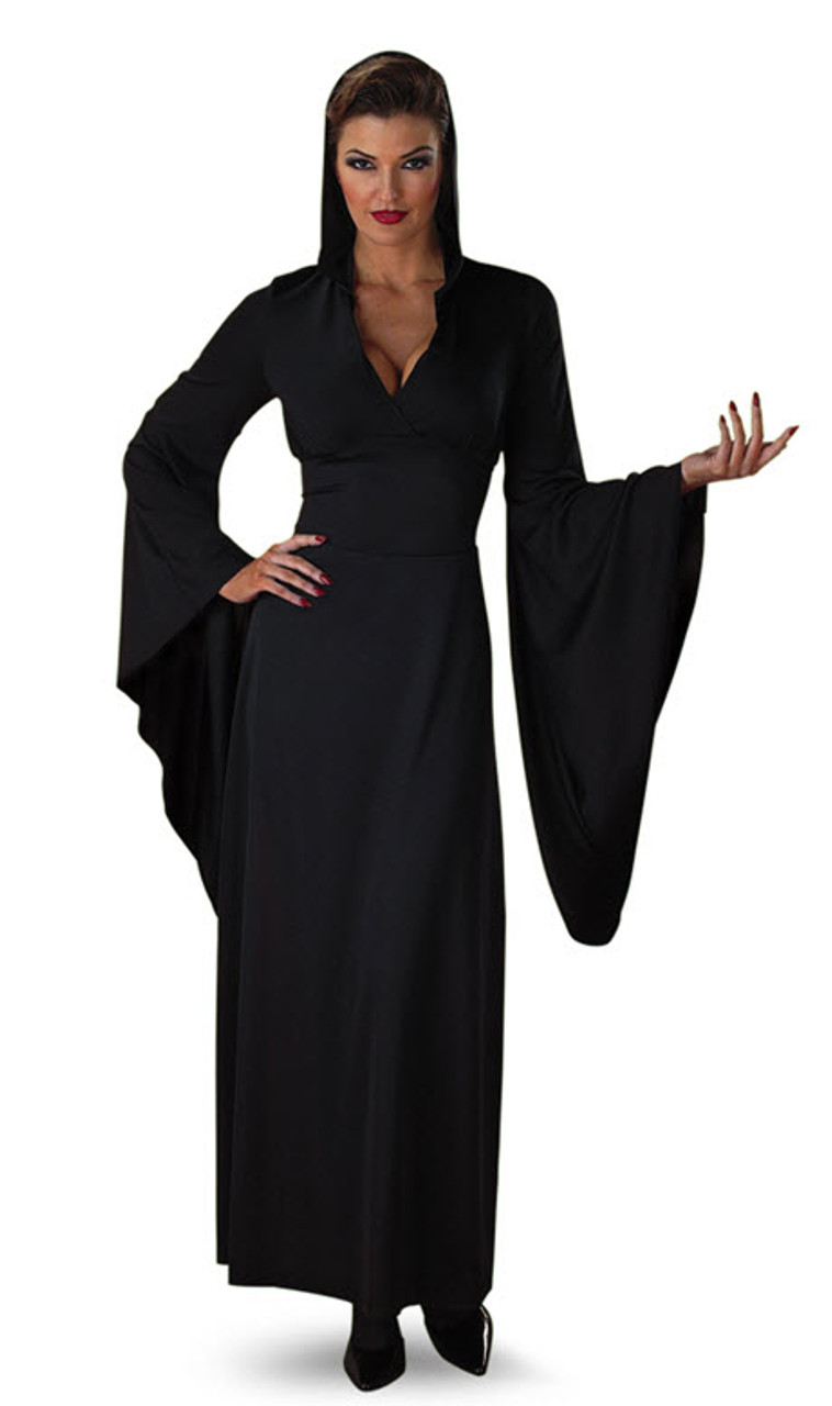 Women\'s Black Hooded Robe - Halloween Express