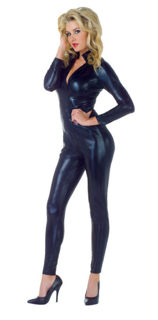 Womenu0027s Wet Look Jumpsuit Costume  sc 1 st  Halloween Express & Grease Movie Costumes