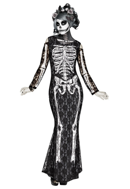 Womenu0027s Lacy Bones Costume  sc 1 st  Halloween Express & Skeleton Halloween Costumes for Adults