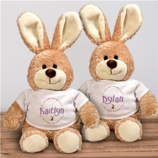 Plush Easter bunny, with personalized tshirt in pink, blue, or brown.